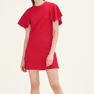 New maje red dress with flutter butterfly sleeves